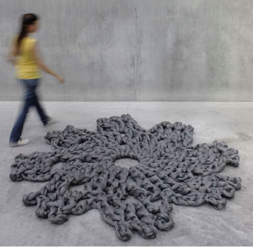 Knitted grey carpet