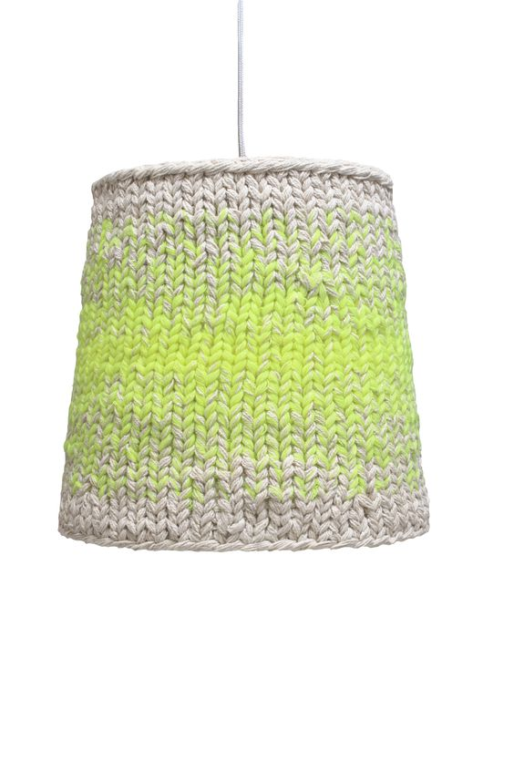lime green knitted lamp
