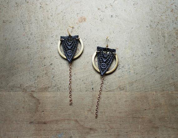 white owl lace earrings