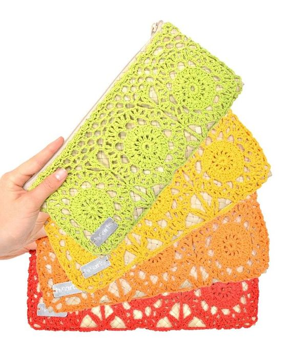 crochet lace clutches