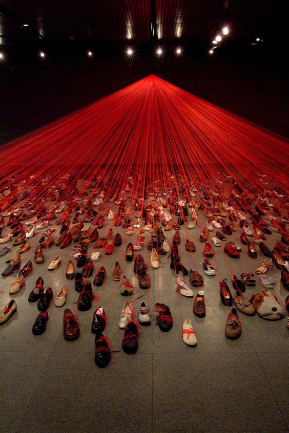 Chiharu Shiota shoes installation