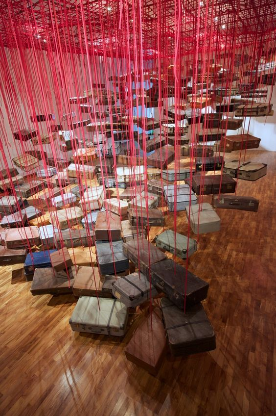 Chiharu Shiota suitcases installation