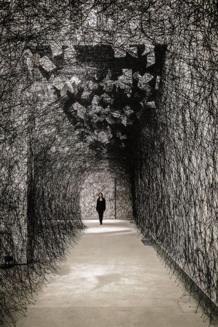 Chiharu Shiota letters installation