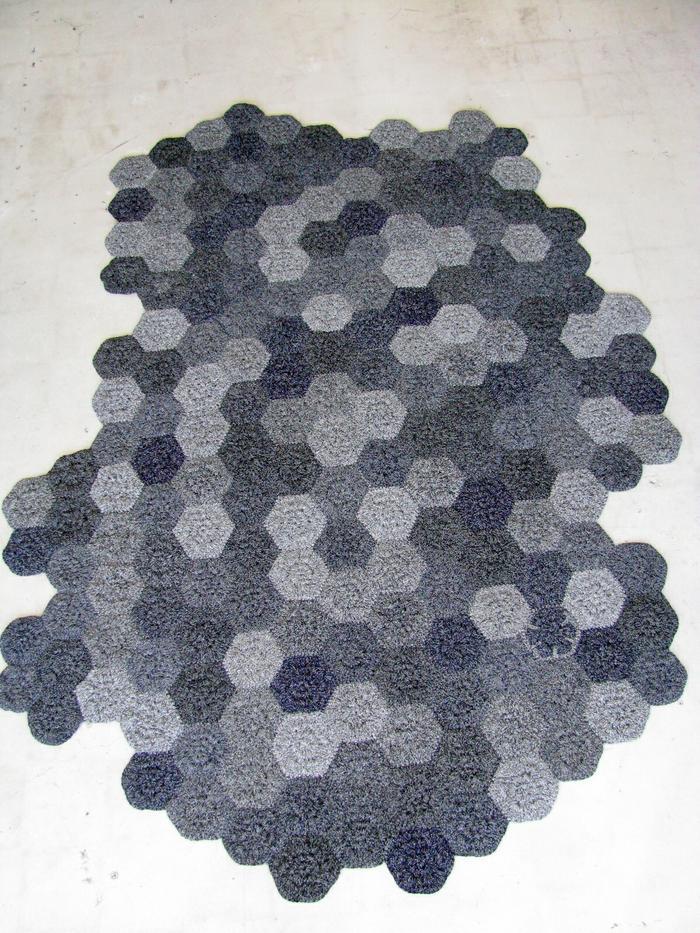 Moonbasket design rug hexagon blue grey
