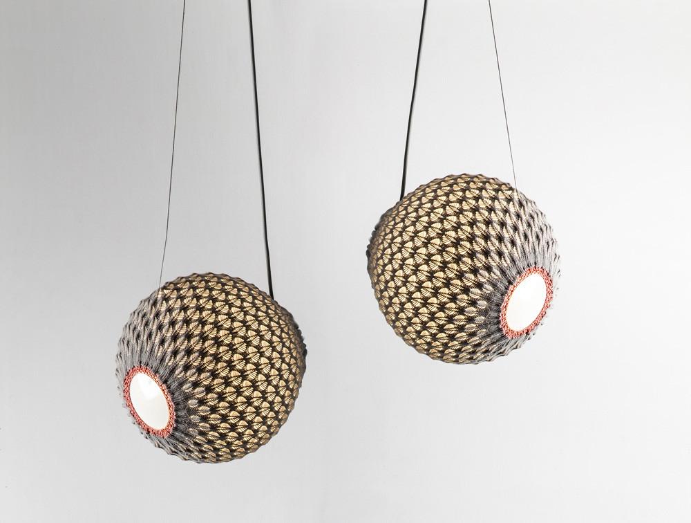 Ariel Zuckerman hanging knitted lights grey