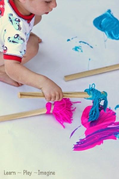 giant yarn painting brush practice