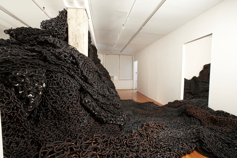 Orly Genger gallery installation black