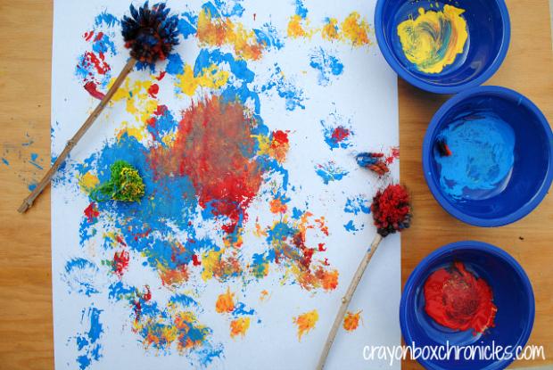 Yarn painting with pom pom practice