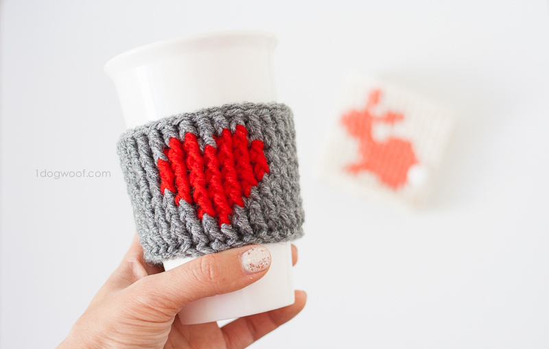 Valentine's Yarn Project Heart Cup Cozy