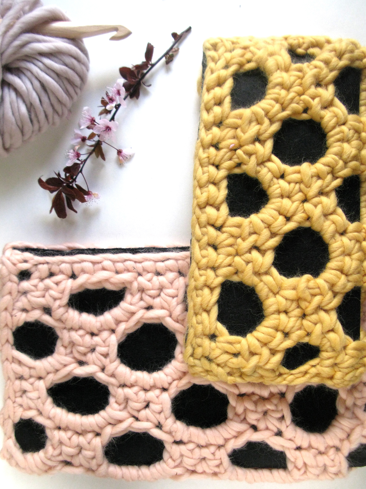 Chunky Clutches-salmon pink-yellow-wearitcrochet