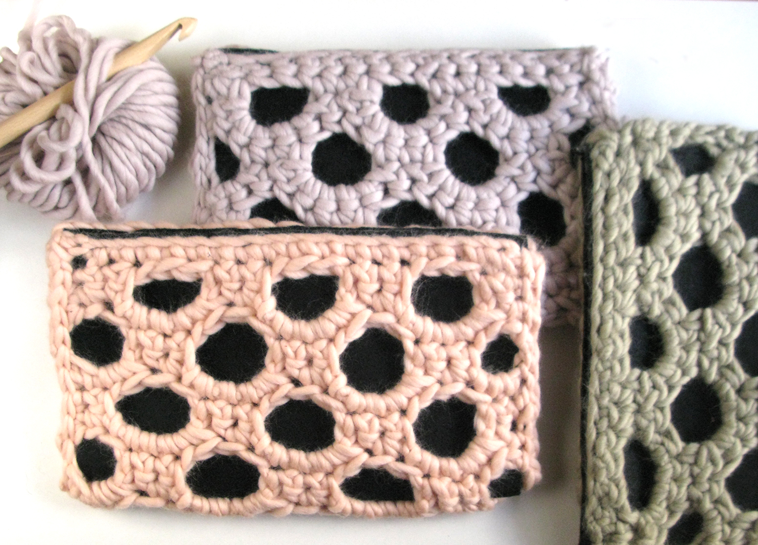 Chunky Clutches-salmon pink-green-light purple-wearitcrochet