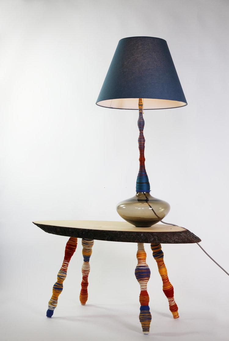 Pia Wustenberg Studio spool table and light