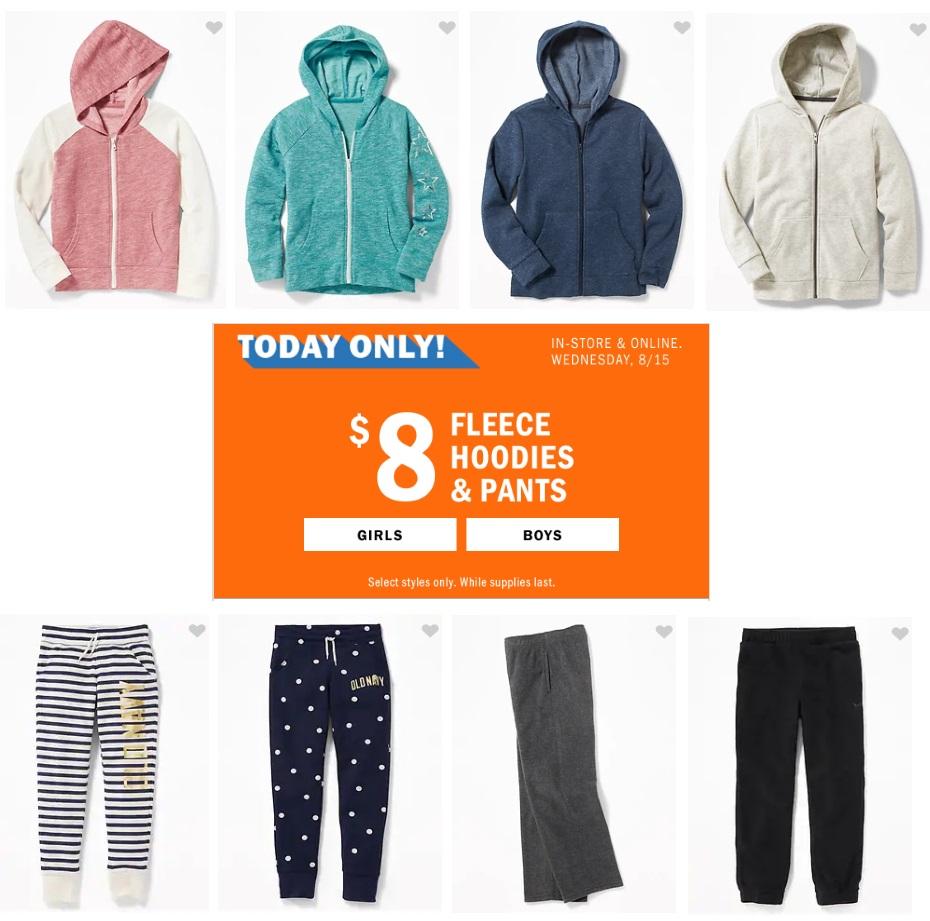 ecb89eb06 Old Navy: Kids' Fleece Hoodies & Pants – only $8! – Wear It For Less