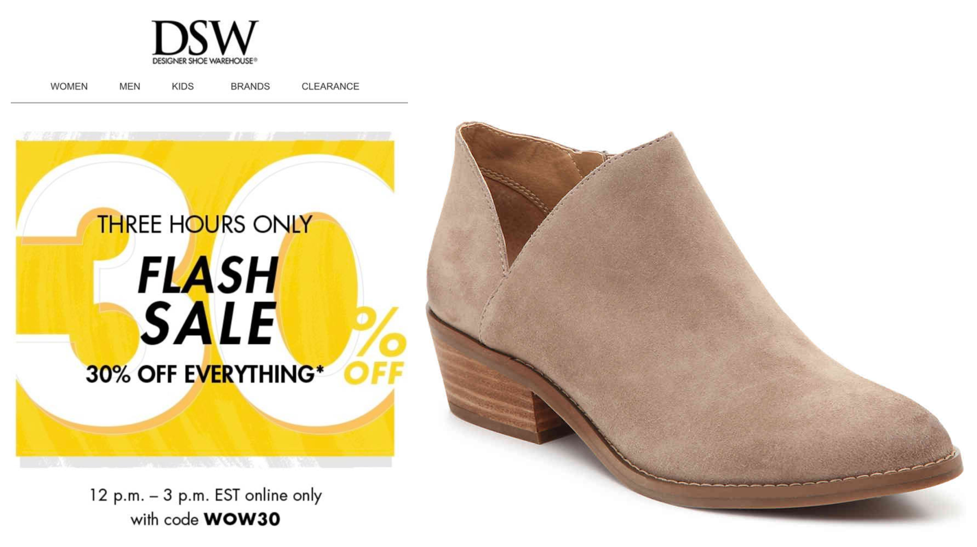 182ab2a7c87 DSW  30% off (almost) EVERYTHING – 3 Hours Only!!! – Wear It For Less