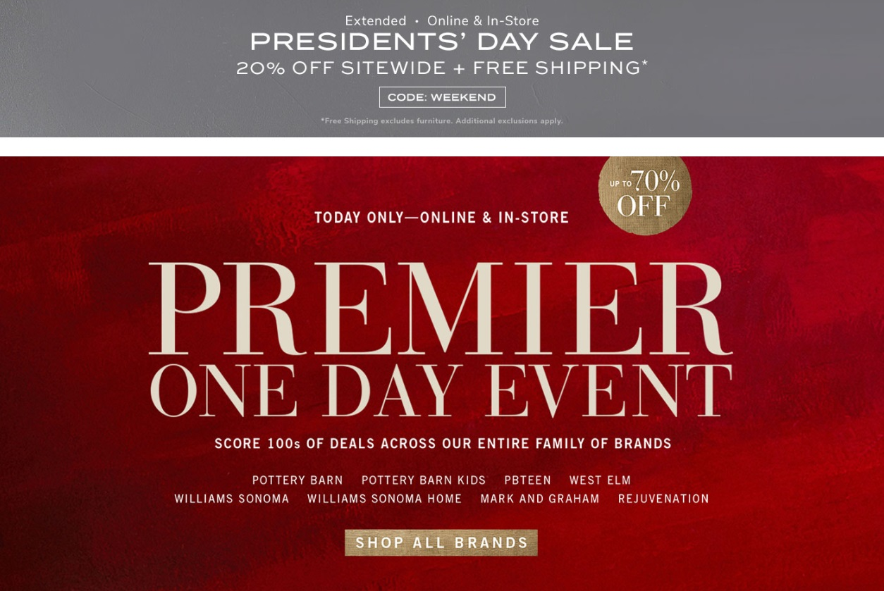 b5525e18a96 Pottery Barn Brands: Premier Day Event + an Extra 20% Off + Free Shipping!