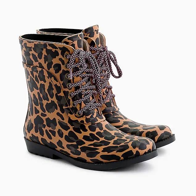 J. Crew: Leopard Rain Boots – only $23