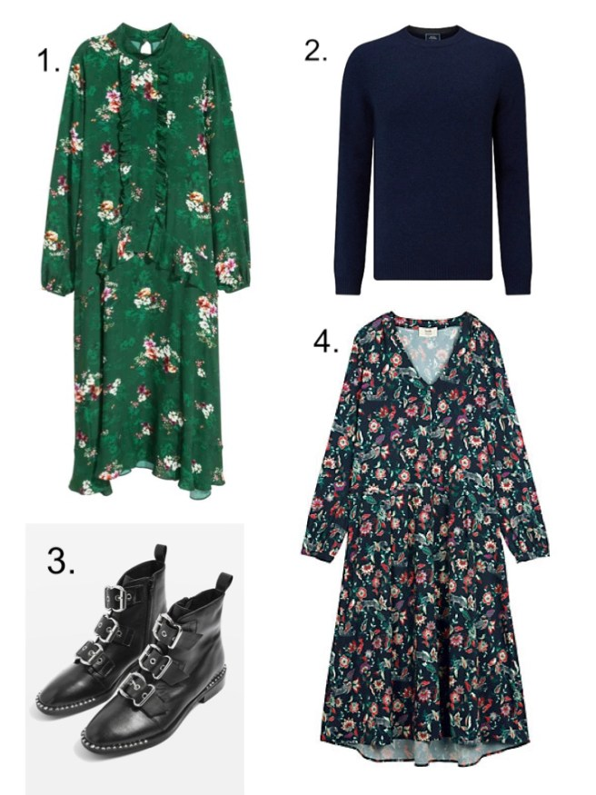 H&M Green Dress, TopShop Alfie Buckle Boots