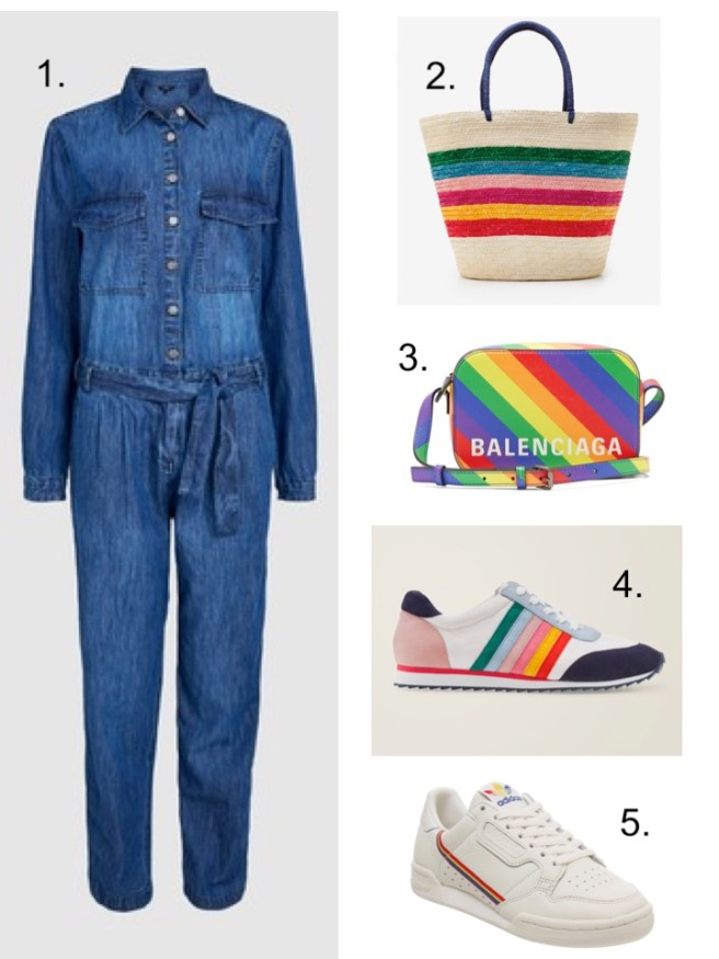 next denim Boiler suit and rainbow bags all in one everyone