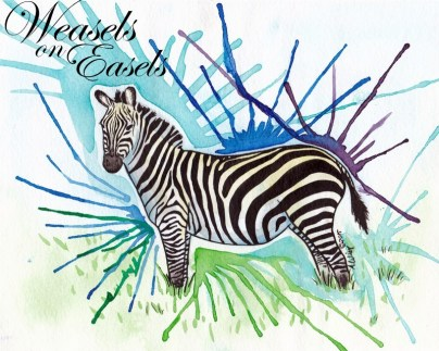 """Stripes with a Splash of Color Original """"8 x 10"""" Dr. Ph Martin ink and W&N Watercolor on Strathmore Coldpress Watercolor Paper"""