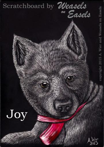 """""""Joy"""" Scratchboard, Watercolors"""