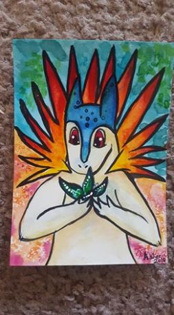 "Typhlosion and Butterfly ACEO sized artwork, 2.5"" x 3.5"" Watercolor on Bristol"