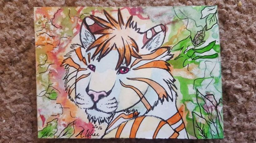 "Cercis Splash ACEO sized artwork, 2.5"" x 3.5"" Watercolor on Bristol"