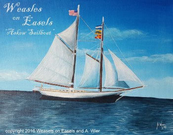 """Askew Sailboat"" Acrylics on Canvas 11"" x 14"" ; Feb 2016 Commission"