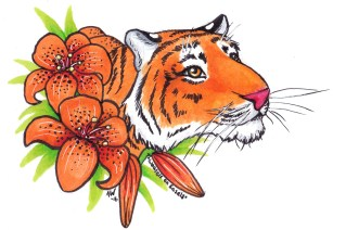 "Tiger and Lilies Sticker Copic Markers on Strathmore Watercolor Paper 3"" x 4"" Sticker"