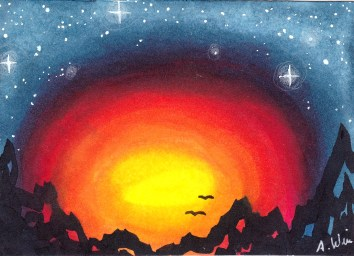 """Mountain Sunset Copic Markers on Strathmore Watercolor Paper 2.5"""" x 3.5"""" ACEO"""