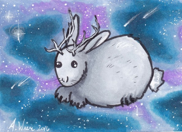 """Space Jackalope Copic Markers on Strathmore Watercolor Paper 2.5"""" x 3.5"""" ACEO"""