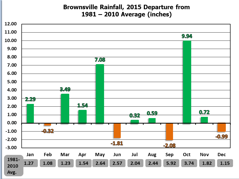 2015 Monthly Average Temperature And Total Rainfall Charts