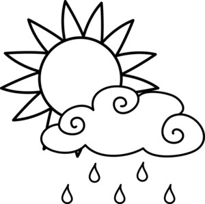 art illustration of a bright sun and a rain cloud in black and white