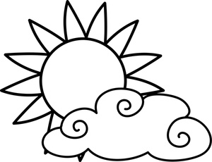 weather clipart image partly cloudy weather icon coloring page