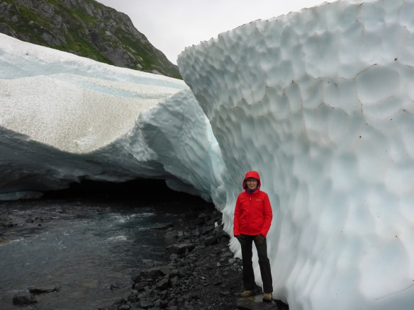 Melissa at the edge of Byron Glacier in Alaska.