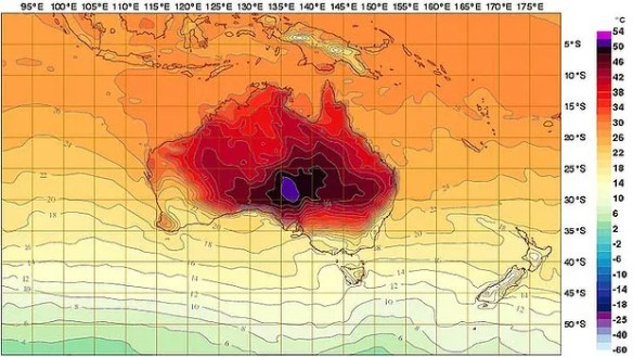 Australian Bureau of Metereology temperature map with new colors to show extreme heat.  Image Credit: ABM