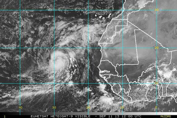 Hurricane Humberto forms off the coast of Africa.