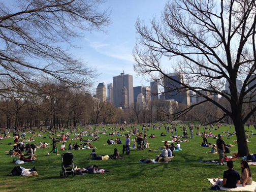 New Yorkers enjoying a warm spring afternoon on the Sheep's Meadow in Central Park.  Image Credit: The Weather Gamut.