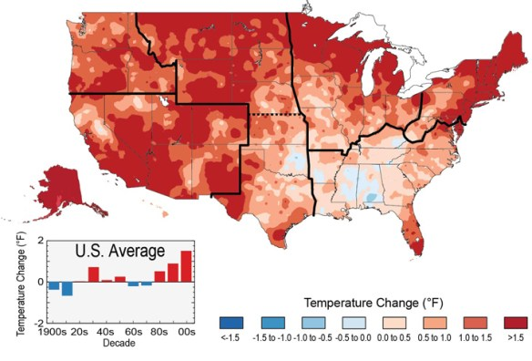 The colors on the map show temperature changes over the past 22 years (1991-2012) compared to the 1901-1960 average for the contiguous U.S., and to the 1951-1980 average for Alaska and Hawai'i.  Image Credit: NCA