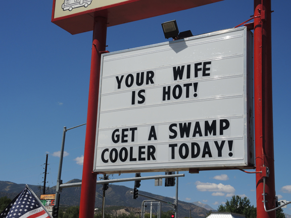 Sign advertising swamp coolers in Salida, CO.  Image Credit: The Weather Gamut