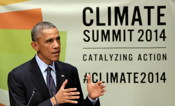 United States President Barack Obama addresses the Climate Summit, at United Nations headquarters. (AP Photo/R. Drew)