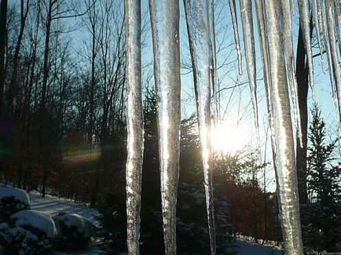 Icicles in the sunshine.  Credit: MLE