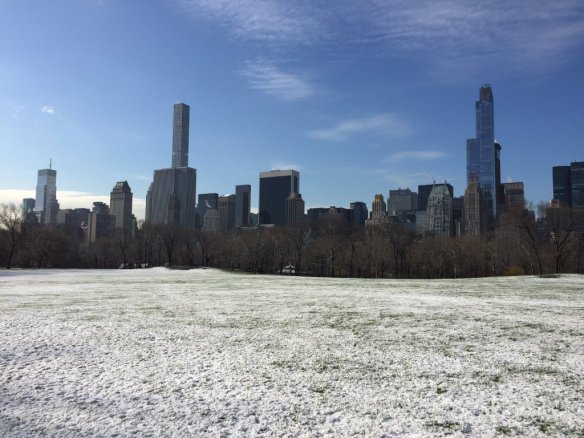 Sheep's Meadow in Central Park is dusted with snow on the first full day of spring. Credit: Central Park Conservancy.