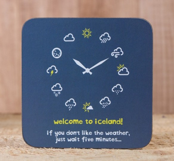 "Coaster for sale with the popular saying, "" Welcome to Iceland. If you don't like the weather, just wait five minutes."" Credit/Source: Gullfoss.is"