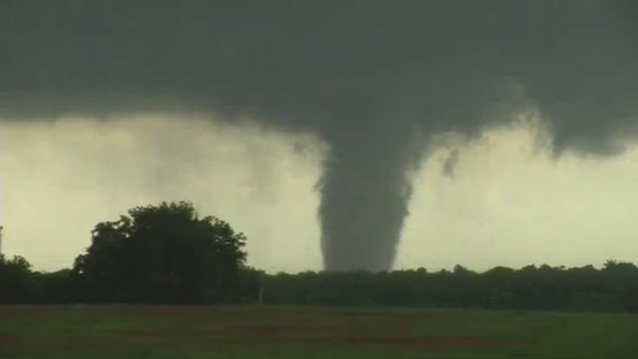 Tornado touches down near Katie, Oklahoma. Credit: KJRH