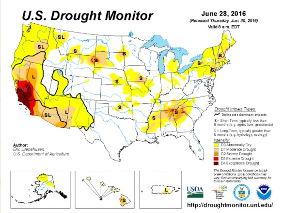 41% of the US is in some form of drought. Credit: US Drought Monitor