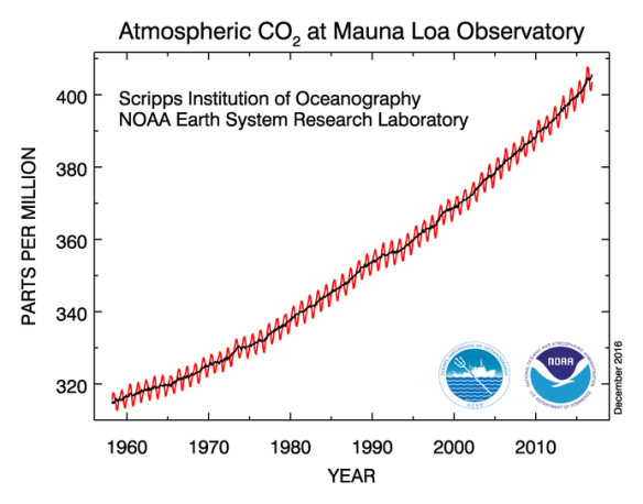 The Keeling Curve. Credit: Scripps and NOAA