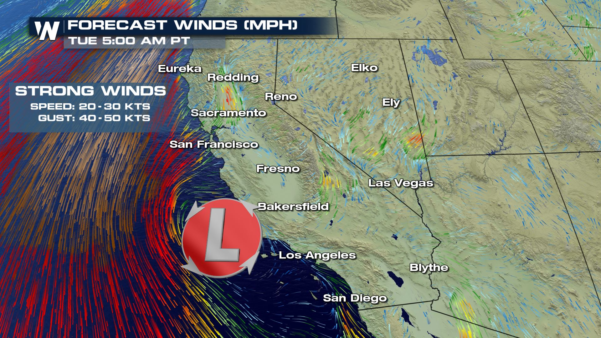 High Winds For The West Coast Early Next Week