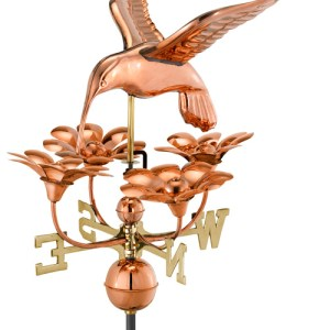 Hummingbird with Flowers Copper Weathervane-0