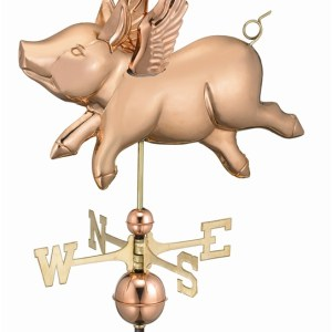 Two Story Home Size Flying Pig Pure Copper Handcrafted Weathervane -0