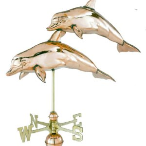 Double Dolphin 3-D Copper Weathervane-0